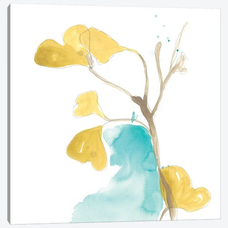 Teal and Ochre Ginko IX 3-Piece Canvas #JEV1398} by June Erica Vess Art Print