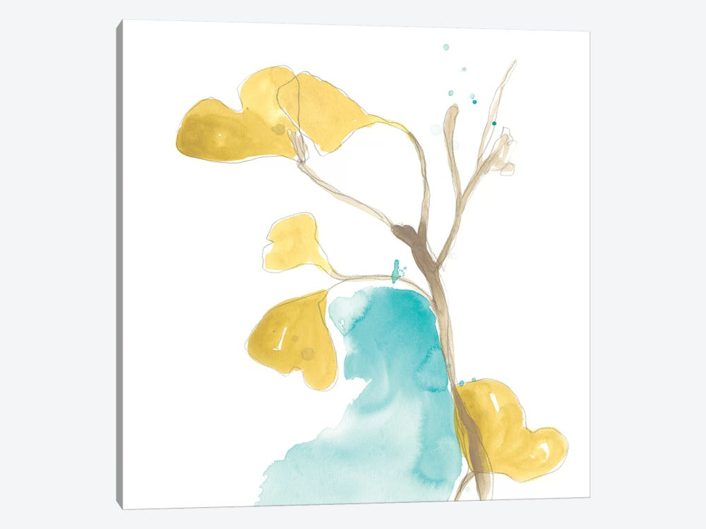Teal and Ochre Ginko IX by June Erica Vess 1-piece Canvas Artwork
