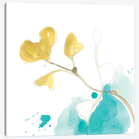 Teal and Ochre Ginko V Canvas Print #JEV1399} by June Erica Vess Art Print