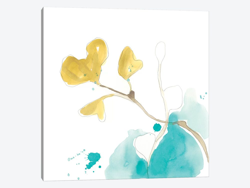 Teal and Ochre Ginko V by June Erica Vess 1-piece Canvas Art Print