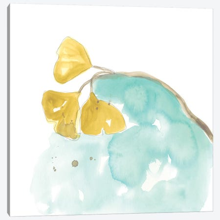 Teal and Ochre Ginko VI Canvas Print #JEV1400} by June Erica Vess Art Print
