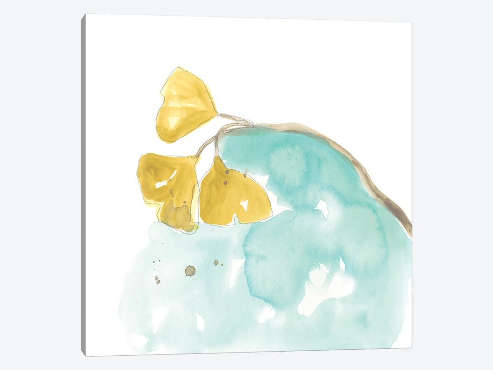 Teal and Ochre Ginko VI by June Erica Vess 1-piece Canvas Art