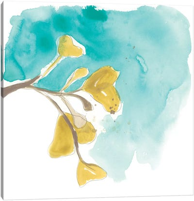 Teal and Ochre Ginko VIII Canvas Art Print