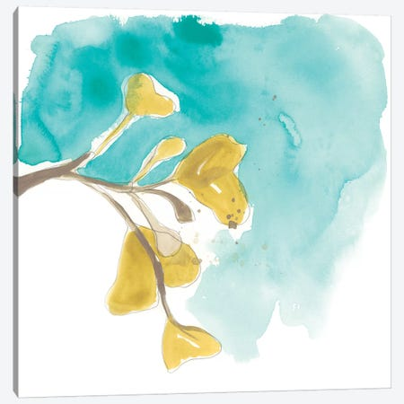 Teal and Ochre Ginko VIII 3-Piece Canvas #JEV1402} by June Erica Vess Canvas Print