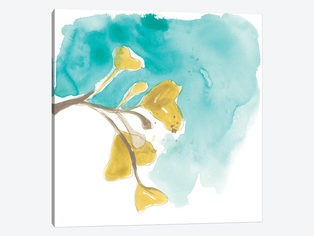 Teal and Ochre Ginko VIII by June Erica Vess 1-piece Canvas Wall Art