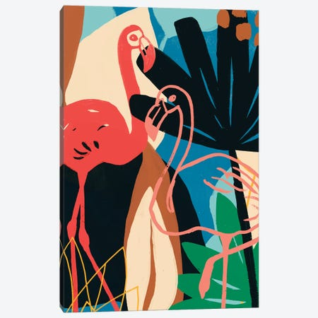Funky Flamingo I Canvas Print #JEV1522} by June Erica Vess Canvas Art