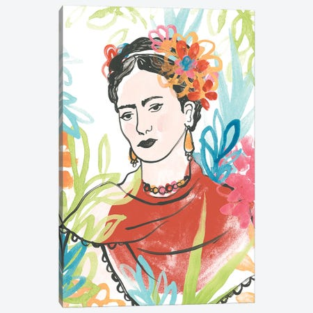 Portrait of Frida  I Canvas Print #JEV1740} by June Erica Vess Canvas Wall Art