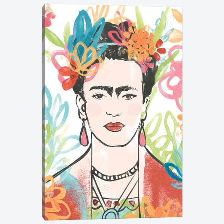 Portrait of Frida  II Canvas Print #JEV1741} by June Erica Vess Canvas Wall Art
