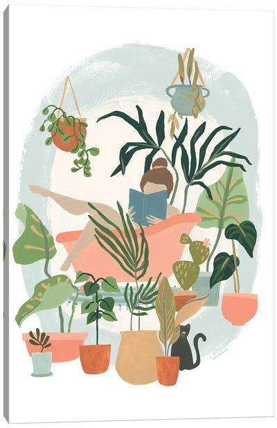 Plant Lady Bath I Canvas Art Print