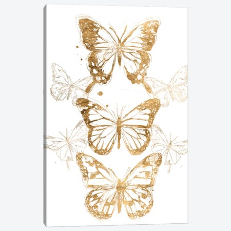 Gold Butterfly Contours I Canvas Print #JEV1987} by June Erica Vess Canvas Art Print