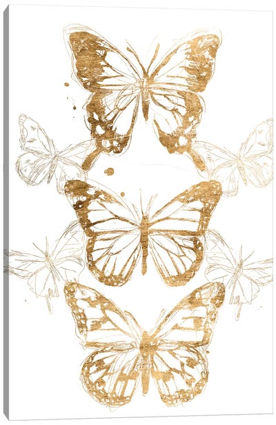 Gold Butterfly Contours I Canvas Art Print
