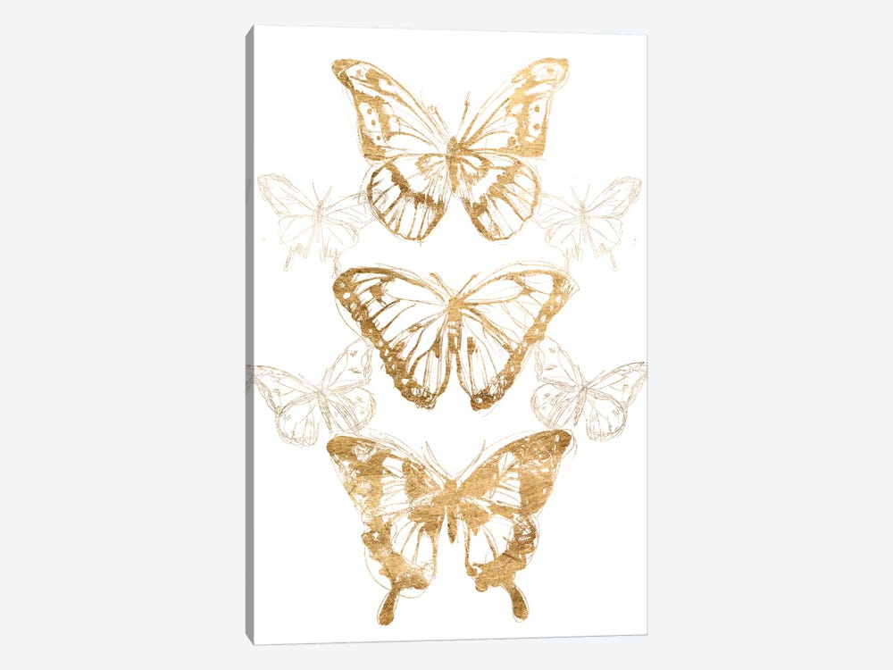 Gold Butterfly Contours II by June Erica Vess 1-piece Art Print