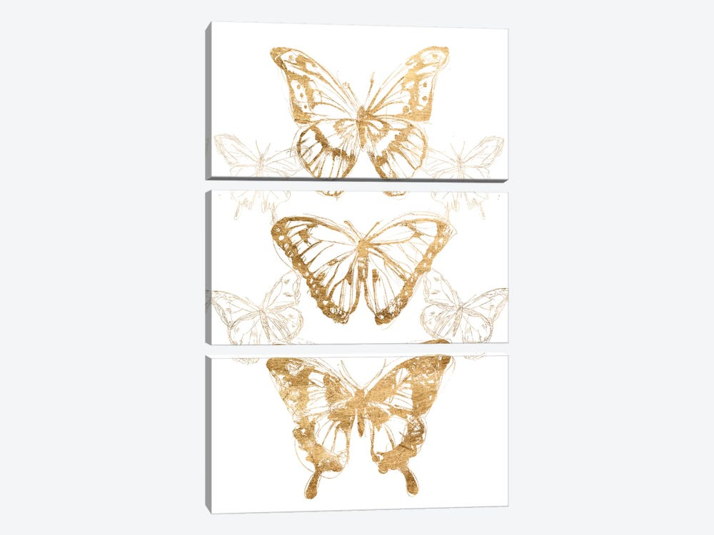 Gold Butterfly Contours II by June Erica Vess 3-piece Art Print