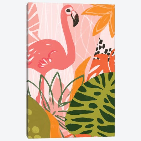 Jungle Flamingo II Canvas Print #JEV2004} by June Erica Vess Canvas Wall Art