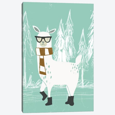 Bundle Up Llama III Canvas Print #JEV2150} by June Erica Vess Canvas Art Print