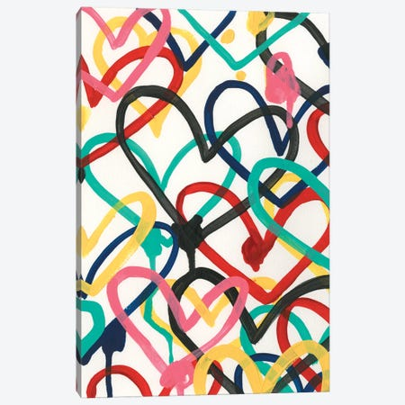 Heart Scribbles I Canvas Print #JEV2486} by June Erica Vess Canvas Artwork
