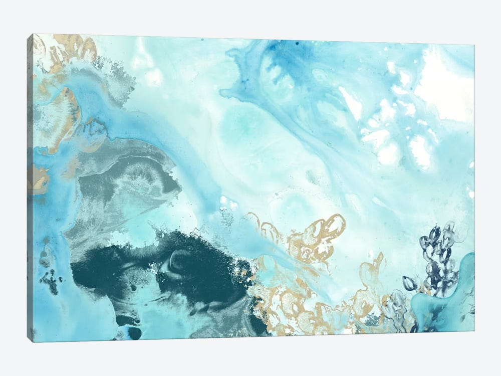 Aqua Wave Form II by June Erica Vess 1-piece Canvas Artwork