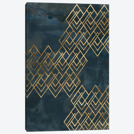Deco Pattern in Blue I Canvas Print #JEV2633} by June Erica Vess Canvas Wall Art