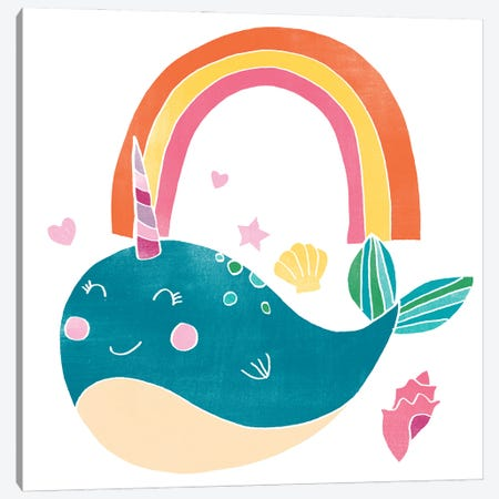 Happy Narwhals I Canvas Print #JEV2664} by June Erica Vess Canvas Wall Art