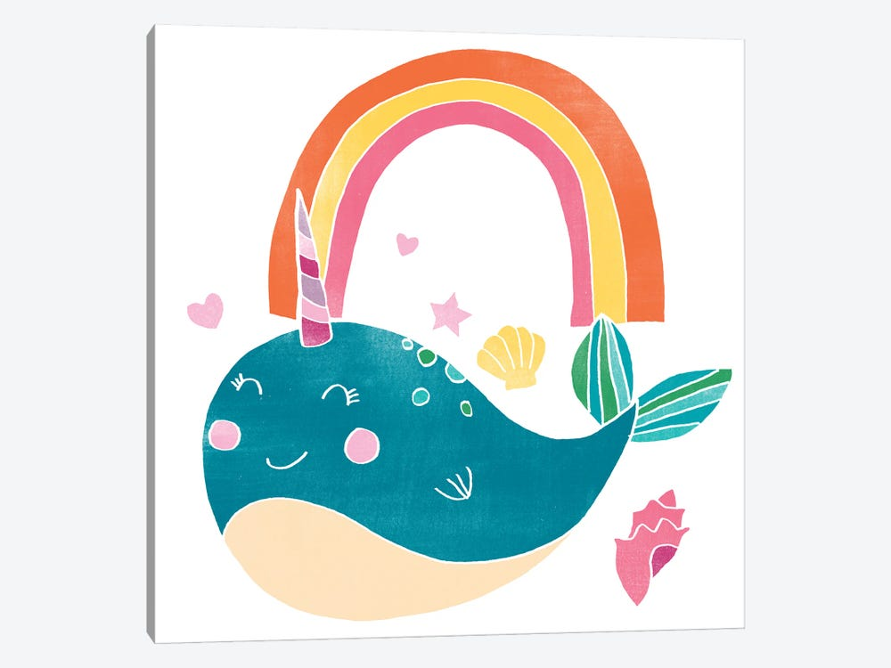 Happy Narwhals I by June Erica Vess 1-piece Art Print