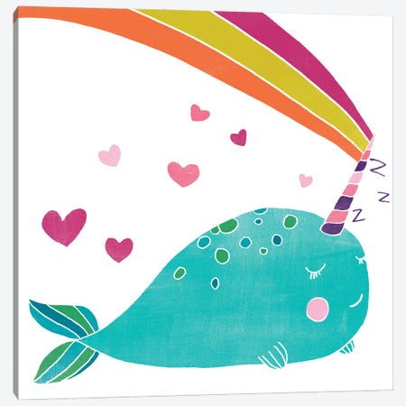 Happy Narwhals III Canvas Print #JEV2666} by June Erica Vess Canvas Artwork