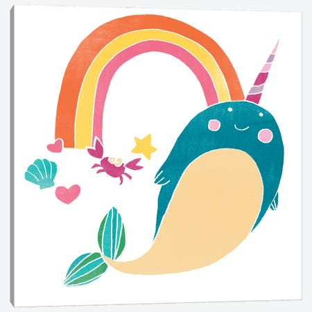 Happy Narwhals IV Canvas Print #JEV2667} by June Erica Vess Canvas Art