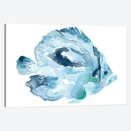 Blue Ocean Fish I Canvas Print #JEV2700} by June Erica Vess Canvas Artwork