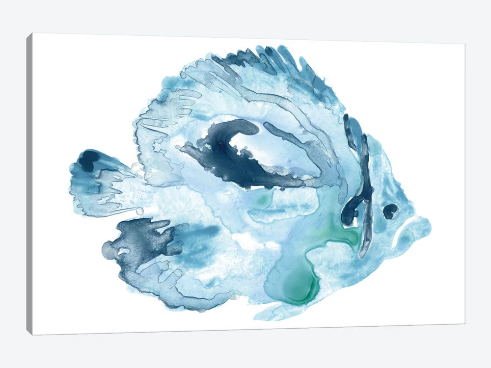 Blue Ocean Fish I by June Erica Vess 1-piece Canvas Art
