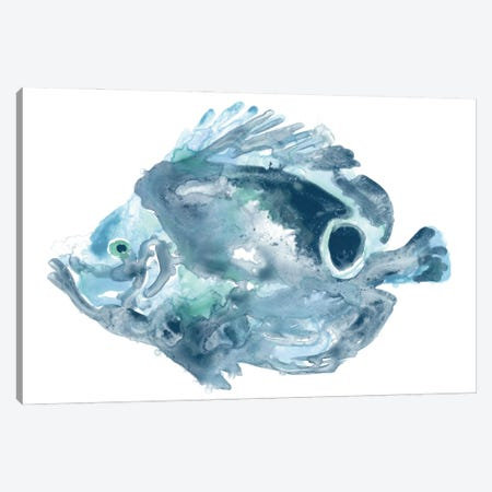 Blue Ocean Fish IV Canvas Print #JEV2703} by June Erica Vess Canvas Wall Art