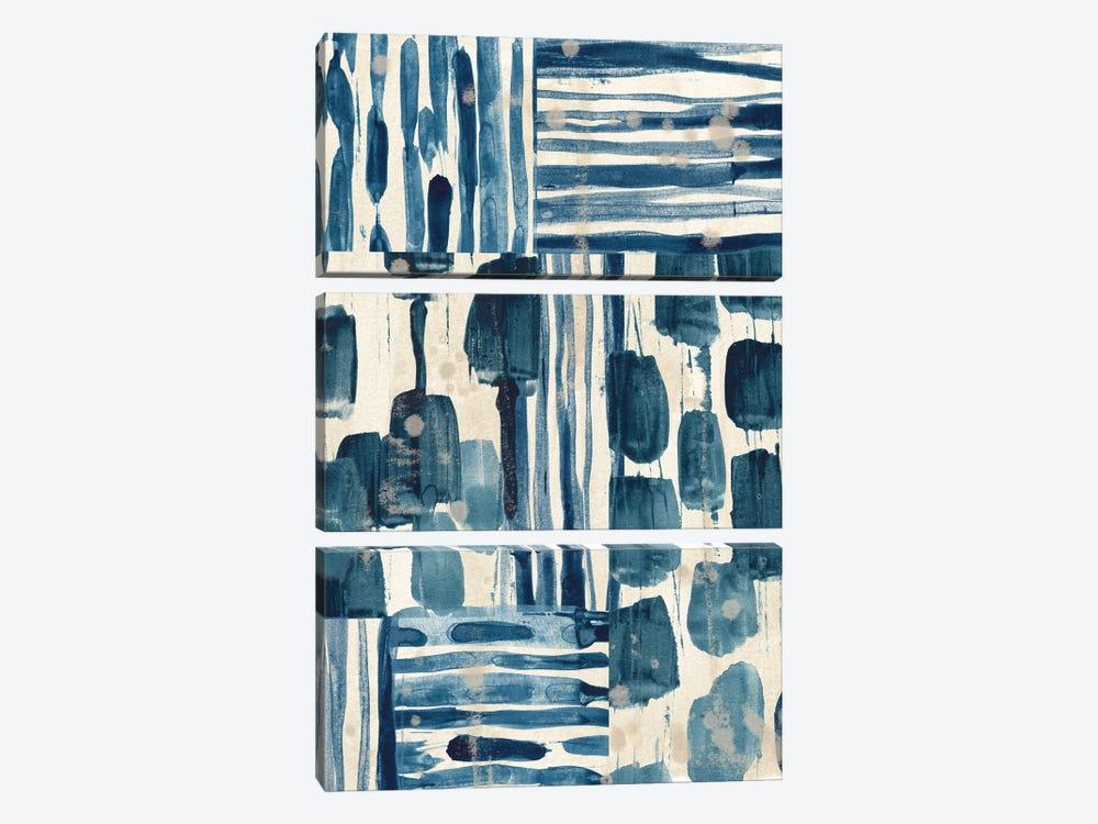 Indigo Patchwork II by June Erica Vess 3-piece Canvas Print