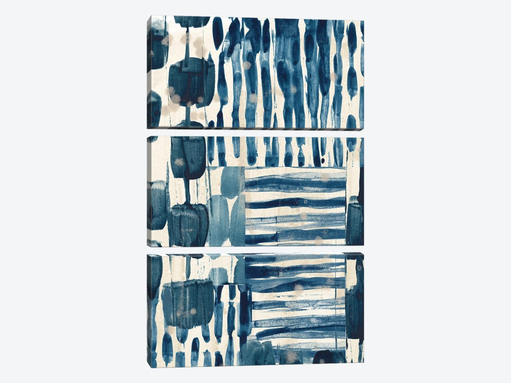 Indigo Patchwork III 3-piece Canvas Art