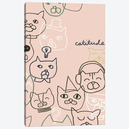 Cattitude I Canvas Print #JEV2761} by June Erica Vess Canvas Wall Art