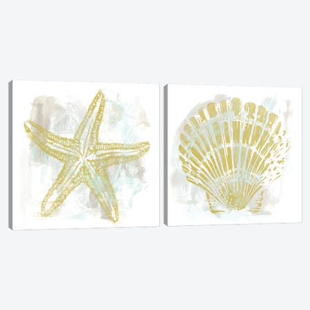 Seaside Blockprints Diptych Canvas Print Set #JEV2HSET008} by June Erica Vess Canvas Wall Art