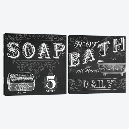 Chalkboard Bath Signs Diptych Canvas Print Set #JEV2HSET026} by June Erica Vess Canvas Art Print
