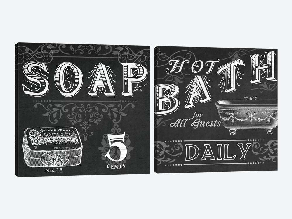 Chalkboard Bath Signs Diptych by June Erica Vess 2-piece Canvas Art Print