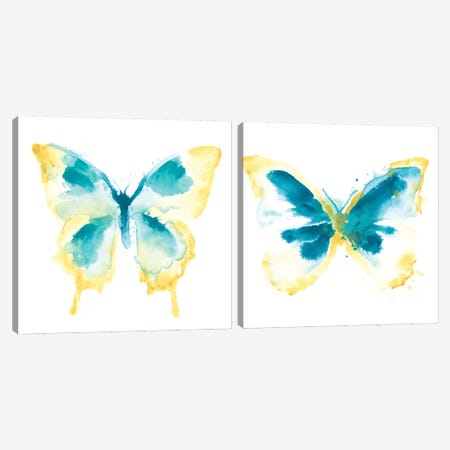 Butterfly Traces Diptych Canvas Print Set #JEV2HSET033} by June Erica Vess Canvas Art Print