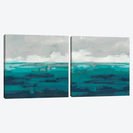 Sea Foam Vista  Diptych Canvas Print Set #JEV2HSET044} by June Erica Vess Canvas Print