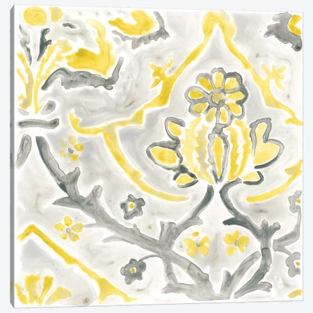 Citron Damask Tile I Canvas Print #JEV383} by June Erica Vess Canvas Print