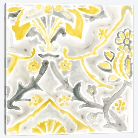Citron Damask Tile II Canvas Print #JEV384} by June Erica Vess Canvas Wall Art