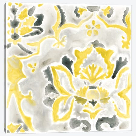 Citron Damask Tile III Canvas Print #JEV385} by June Erica Vess Canvas Art