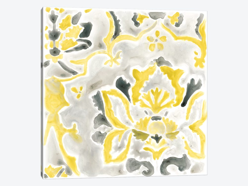 Citron Damask Tile III by June Erica Vess 1-piece Art Print