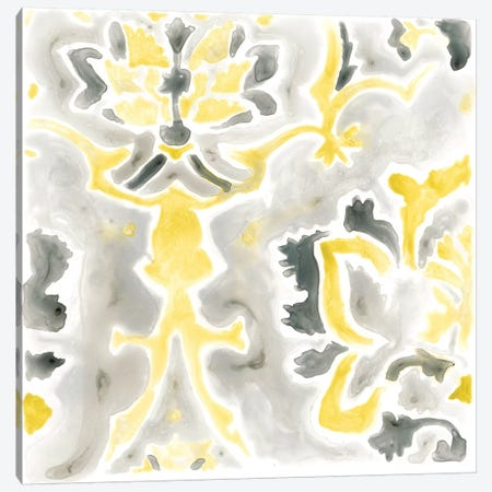 Citron Damask Tile IV Canvas Print #JEV386} by June Erica Vess Canvas Wall Art