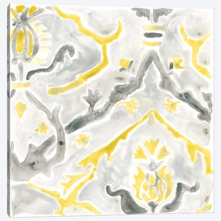 Citron Damask Tile V Canvas Print #JEV387} by June Erica Vess Canvas Artwork