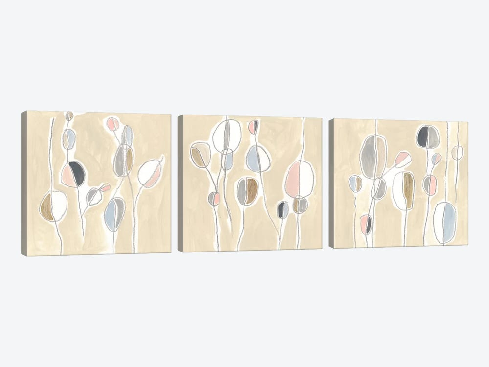 String Garden Triptych by June Erica Vess 3-piece Canvas Art Print