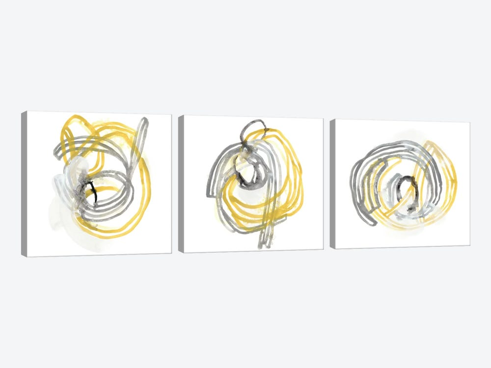 String Orbit Triptych by June Erica Vess 3-piece Art Print