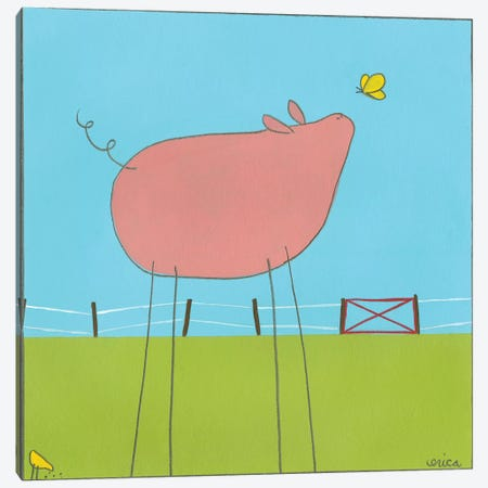 Pig I Canvas Print #JEV50} by June Erica Vess Art Print
