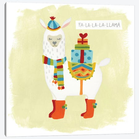 Fa-la-la-la Llama I Canvas Print #JEV519} by June Erica Vess Canvas Art
