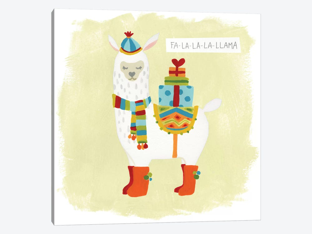 Fa-la-la-la Llama I by June Erica Vess 1-piece Canvas Art