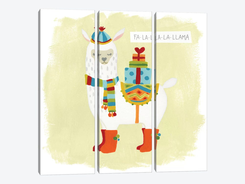 Fa-la-la-la Llama I by June Erica Vess 3-piece Canvas Wall Art