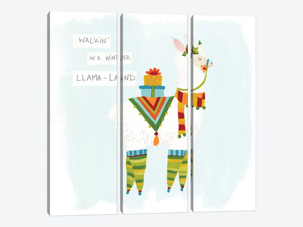 Fa-la-la-la Llama II by June Erica Vess 3-piece Canvas Artwork